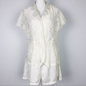Vintage Victoria's Secret Lace & Satin Pajama Set